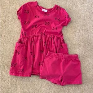 Hanna Andersson dress and shorts, size 5